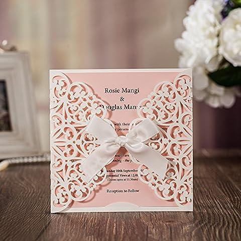 Jofanza Cartes d'invitation de mariage coupées au laser avec nœud