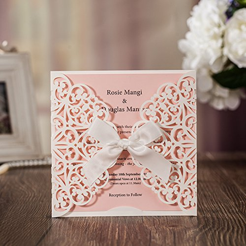 Jofanza Einladungskarten Für Hochzeit Geburtstag Taufe Weiß Blumen Lasercut Design Mit Seidenband Schleife Set 20 Stücke inkl Umschläge und Aufkleber
