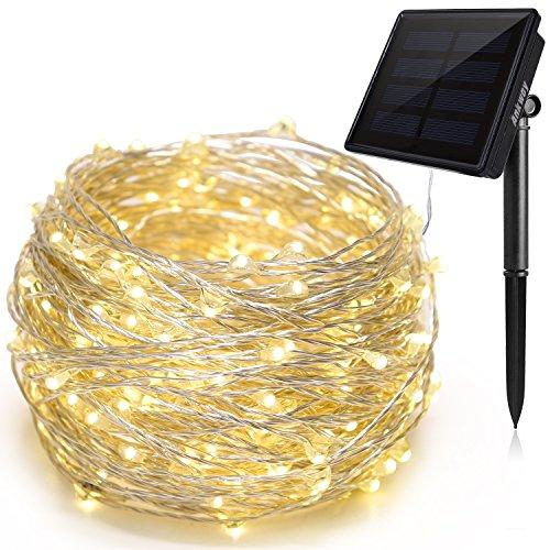 Ankway luci stringa solare 200led 8 modi, 22m luci stringa rame 3 fili, catene luminose solari impermeabili, luce energia solare auto on/off per giardino esterno feste natale e camera (bianco caldo)