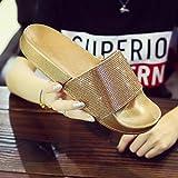 Qsy shoe Das Tragen eines Diamantenpantoffels trägt das europäische und amerikanische Wort für Freizeit, Gold, 40