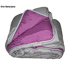 Edredón nórdico liso reversible cama de 150 Gris-Berenjena