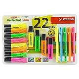 Stabilo Lot de 22Neon surligneurs stylos–4x Boss Original + 10x Flash + 8x Neon