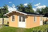 Gartenhaus GOTLAND B 70 Blockhaus 440 x 595 cm + 100 cm Vordach Holzhaus 70 mm