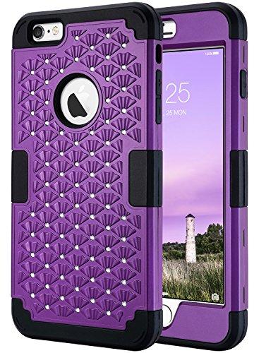 ULAK iPhone 6 Plus Hülle 5.5 Zoll, 3in1 Stoäfest Hybrid High Impact Hart PC und Weiche Silikon Schutzhülle Tasche Case Cover für Apple iPhone 6 Plus/iPhone 6s Plus 5.5 Zoll (Lila/Schwarz Bling) (Iphone Snap Lila Apple)