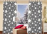2er Set (=2 Stück) Bezaubernde dekorative Gardine Dekoschal ' STARS ALL OVER ' - blickdichter Schlaufenschal Fensterschal - Grundfarbe : stein / grau/anthrazit - mit wundervollen hellen Sternen - blickdicht - Fertiggardine - Größe 140 cm x 240 cm - ein BLICKFANG in jedem Wohnbereich wie Schlafzimmer Kinderzimmer Wohnzimmer - NEU aus dem KAMACA-SHOP