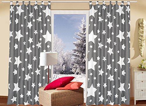 """2er Set (=2 Stück) Bezaubernde dekorative Gardine Dekoschal """" STARS ALL OVER """" - blickdichter Schlaufenschal Fensterschal - Grundfarbe : stein / grau/anthrazit - mit wundervollen hellen Sternen - blickdicht - Fertiggardine - Größe 140 cm x 240 cm - ein BLICKFANG in jedem Wohnbereich wie Schlafzimmer Kinderzimmer Wohnzimmer - NEU aus dem KAMACA-SHOP"""