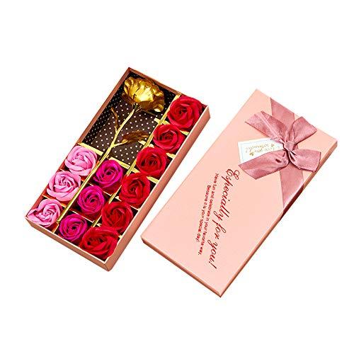 e & Seifenblume Rose Blumen Handgemachte Seife Rose mit Box Valentinstag Seifeblume Rosa&Rot 1 Set ()