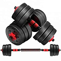Max Strength-20kg dumbbell and Barbell Set Weightlifting fitness black cement steel rubber adjustable 20Kg dumbbell and Barbell Set 2 in 1