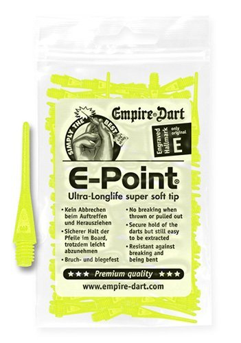Empire Dart Softdartspitzen, E-Point, 2BA, lang, neongelb, 100 Stück, 20681