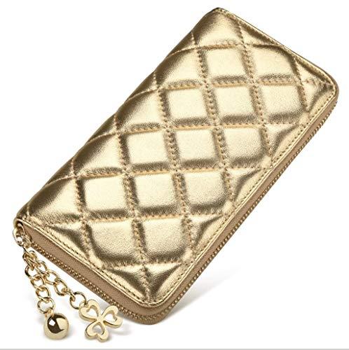 Sccarlettly Umhängetasche Damen Brieftasche Lange Reißverschluss Casual Chic Frauen Geldbörse Schaffell Handtasche Clutch Farbe Blue (Color : Gold, Size : One Size) -