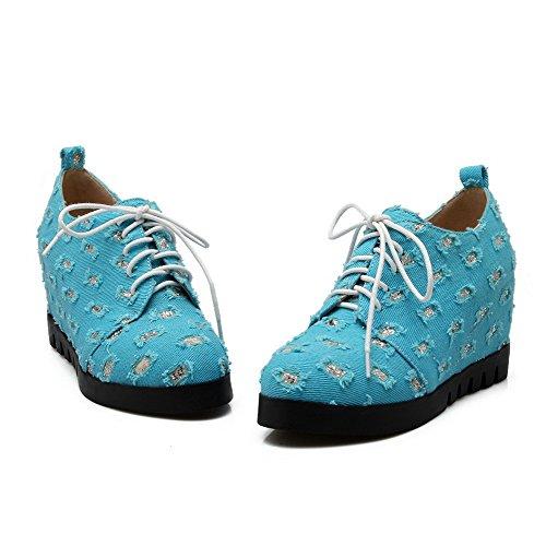 AgooLar Femme Rond Lacet Suédé Couleurs Mélangées à Talon Haut Chaussures Légeres Bleu
