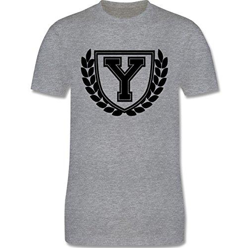Anfangsbuchstaben - Y Collegestyle - Herren Premium T-Shirt Grau Meliert