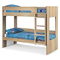 Wooden Bunk Bed, Happy Beds Ellie Oak Wood Modern Twin Sleeper - 3ft Single (90 x 190 cm) with 2 x Orthopaedic Mattresses Included