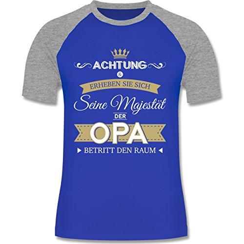 Shirtracer Opa - Seine Majestät der Opa - Herren Baseball Shirt Royalblau/Grau meliert