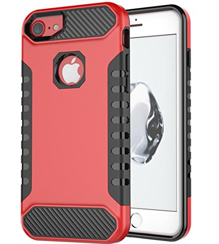 iPhone 8 Plus Hybrid stoßfest Fall, inspirationc 2 in 1 Ultra Dünn Dual Schicht innen weichen TPU Hard PC Rückseite Absorption Full Body Fall für iPhone 8 Plus 2017 iPhone 8 Plus[5.5 Inch] rot