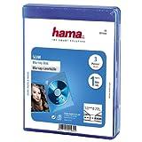Hama Blu-ray-Hülle Slim (auch passend für CDs und DVDs, extra schmal, mit Folie zum Einstecken des Covers) 3er-Pack, blau