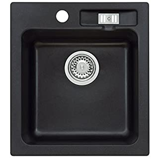 AXIS KITCHEN Malibu 20 Granitspüle Küchenspüle Einbau Spüle 45er Spülbecken Siphon (Axis Night Glow)