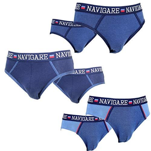 NAVIGARE Underwear Moda Intimo Mutande Slip Uomo Cotone Elasticizzato 6 Pezzi. New Model!! Art. 825Z