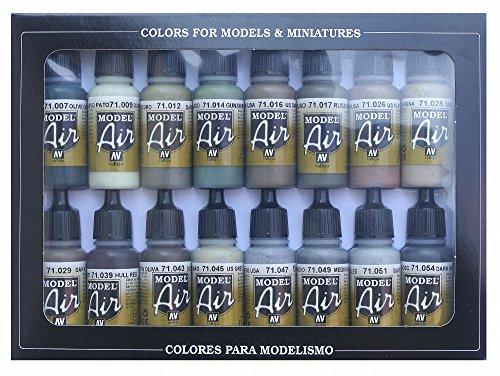Vallejo Seconda Guerra Mondiale Alleati-Set pittura acrilica per aerografo, colori assortiti (confezione da 16)