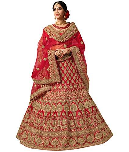 Indian Ethnicwear Bollywood Pakistani Wedding Red A-line Lehenga Semi-stitched-PRFM7404