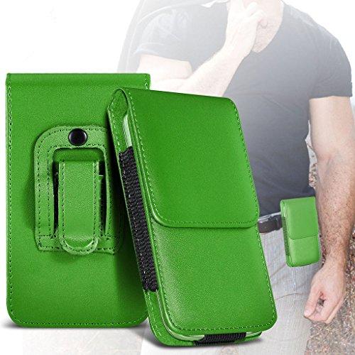 Fone-Case (Green) Allview V2 Viper Xe Hülle der nagelneuen Luxus Faux PU Vertikal Seiten Leder Pull Tab-Beutel-Haut-Kasten-Abdeckung