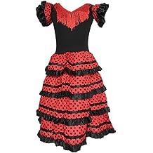 La Senorita vestito Flamenco spagnolo Costume - per ragazza bambini -  nero rosso 1d9a014028c6