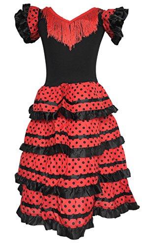 La Senorita Spanische Flamenco Kleid/Kostüm - für Kinder Frauen/Damen - Schwarz/Rot (Größe 116-122 - Länge 80 cm, Schwarz - Rot)