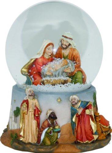 Schneekugel mit Spieluhr, Höhe 15cm (Schneekugel Krippenfiguren)