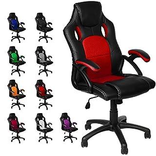 Gamer Stuhl Gaming Schreibtischstuhl Chefsessel Bürostuhl Ergonomisch, Rot, 9 Farbvarianten, gepolsterte Armlehnen, Wippmechanik, belastbar bis 150 kg, Lift TÜV geprüft, Panorama24