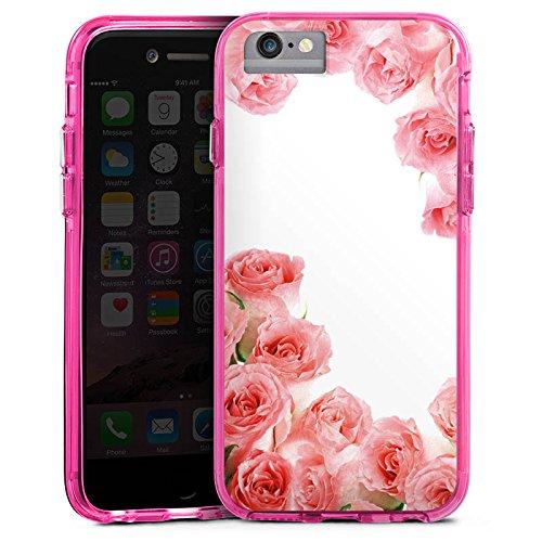 Apple iPhone 6 Plus Bumper Hülle Bumper Case Glitzer Hülle Rosen Roses Pink Bumper Case transparent pink