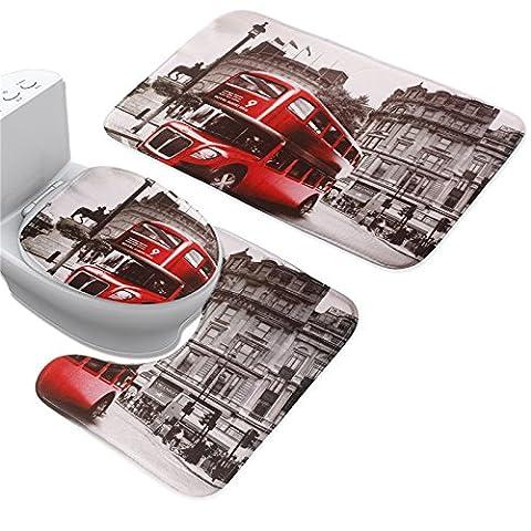 uomere Badteppich WC Sitz umfasst Kissen Set Flanell rot Bus, rutschfest, 3Pcs (Bad Teppich + WC Deckel Teppich + WC-Contour Cover)