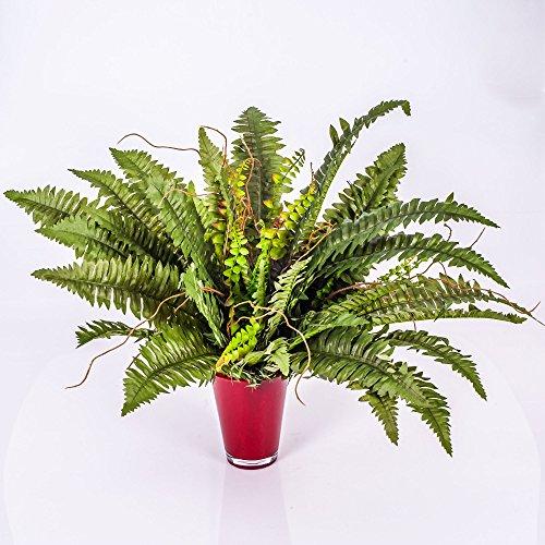 artplants Set 2 x Künstlicher Boston-Farn mit 48 Wedeln, 60 cm – 2 Stück Kunstfarn/Kunstpflanzen Farn