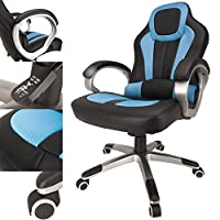 RayGar Deluxe Gaming Sports Racing Style Chair Computer Desk Reclining Office Chair Blue