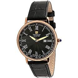"Steinhausen Classic S0120 ""Altdorf"" Swiss Quartz Reloj de pulsera de cuero negro ultra fino en oro rosa"