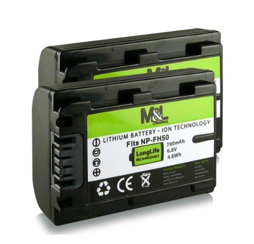 2x Akku / Batterie NP-FH50 für Sony CyberShot DSC-HX1   HX100V   DSLR-A230   A390 - Camcorder DCR-DVD Series   DCR-HC Series und weitere..