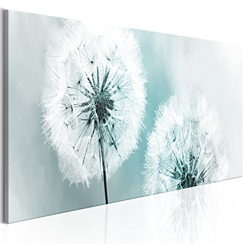 murando - Bilder Pusteblume 150x50 cm - Leinwandbilder - Fertig Aufgespannt - Vlies Leinwand - 1 Teilig - Wandbilder XXL - Kunstdrucke - Wandbild - Blumen Natur grau blau Pusteblumen b-B-0223-b-d