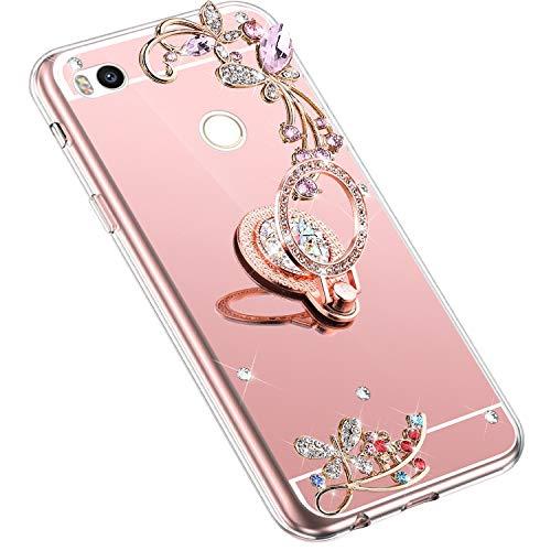 Uposao Kompatibel mit Xiaomi Mi Max 2 Handyhülle Strass Diamant Bling Glitzer Spiegel Schutzhülle Mirror Case Schmetterling Blumen Silikon Hülle Tasche mit Ring Halter Ständer,Rose Gold