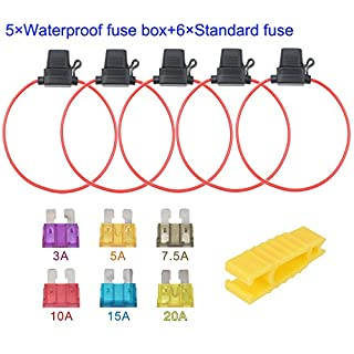 ARTGEAR 5pcs 32V 20A Waterproof Fuse Holder, 16AWG ATO Blade Fuse Holder In-Line with a Cap, Standard Plug Socket with 6pcs Medium Blade Fuse