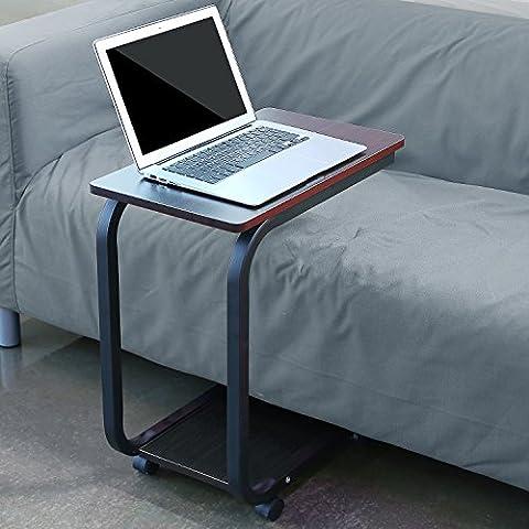 HOMFA Laptoptisch U-Form Notebook Tisch PC Tisch Notebook Sofatisch Laptopständer Notebookständer Pflegetisch für Bett und Sofa Braun 50*29*59cm