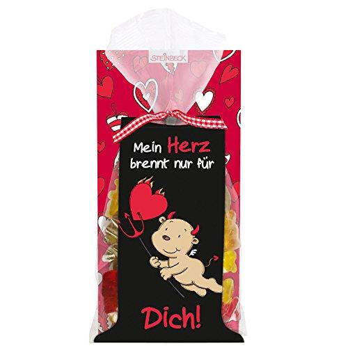 """Fruchtgummi LIEBE ENGEL & TEUFEL STEINBECK 100g """"Mein Herz brennt nur für Dich"""" Geschenk Valentinstag love Herzen Freund Freundin rot Liebe süß Mitgebsel Jahrestag"""