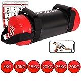 POWRX Power Bag 5-30 kg Kunstleder Fitness Bag für Functional Fitness (25 kg Schwarz/Rot)