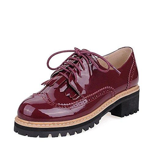 VogueZone009 Femme Verni Rond Fermeture D'Orteil à Talon Bas Lacet Couleur Unie Chaussures Légeres Rouge Vineux