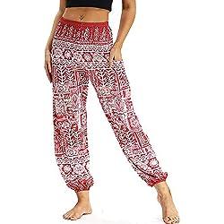 Nuofengkudu Mujer Pantalones Harem Tailandes Hippies Vintage Boho Flores Verano Alta Cintura Elastica Casual Danza Yoga Pants Bombachos Rojo Geometría