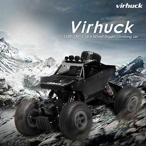 Virhuck 1139 (A) 1/18 Scale 4WD Rock Crawler con Carcasa Metálica 2.4GHz Vehículo Todoterreno RC Car 4MPH Regalos de Navidad presentes(Negro)