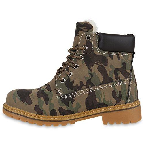 Warm Gefütterte Worker Boots Damen Outdoor Stiefeletten Bequem Camouflage Hellbraun