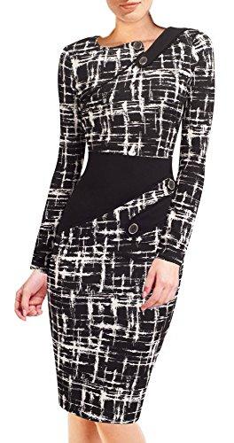 HOMEYEE Damenkleid Business Kleid Partykleid Pencil Etuikleider B231, B63(EU 46 (Herstellergroesse: 3XL),Schwarz + Weiß)