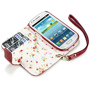 Flip Leder Handytasche Case Etui Hülle für Samsung Galaxy S3 Mini i8190 Rot Floral Print innen
