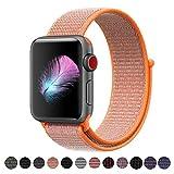 Für Apple Watch Armband 38MM, Weiches, atmungsaktives Nylongewebe mit einfach anpassbarem Klettverschluss, Ersatz für iwatch armband Series 3, Series 2, Series 1, Nike+, Edition, Hermes (Spicy Orange, 38MM)