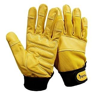 Gardening Gloves, Leather Garden Gloves Thorn Proof Gloves with Padded Palms, Work Gloves (Medium, Yellow)