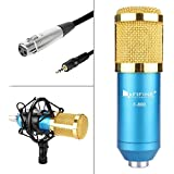 External Sound Card Fifine Audio Recording Interface USB Sound Box and Audio Mixer for laptop PC Real Time Music singing Recording Karaoke-N8 800MIC-Blue